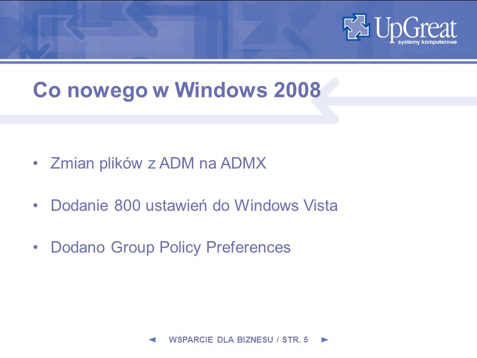 Co nowego w Windows 2008 Zmian plików z ADM na ADMX Dodanie 800 ustawień do Windows Vista Dodano Group Policy Preferences WSPARCIE DLA BIZNESU / STR.
