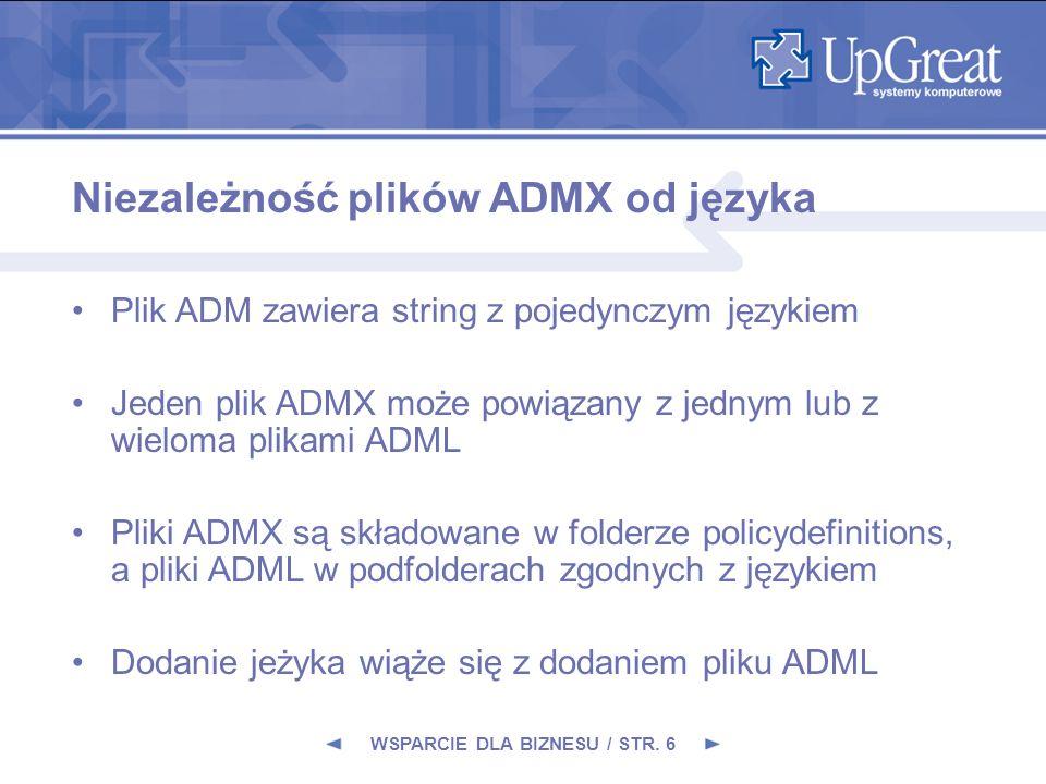 Niezależność plików ADMX od języka Plik ADM zawiera string z pojedynczym językiem Jeden plik ADMX może powiązany z jednym lub z wieloma plikami ADML P