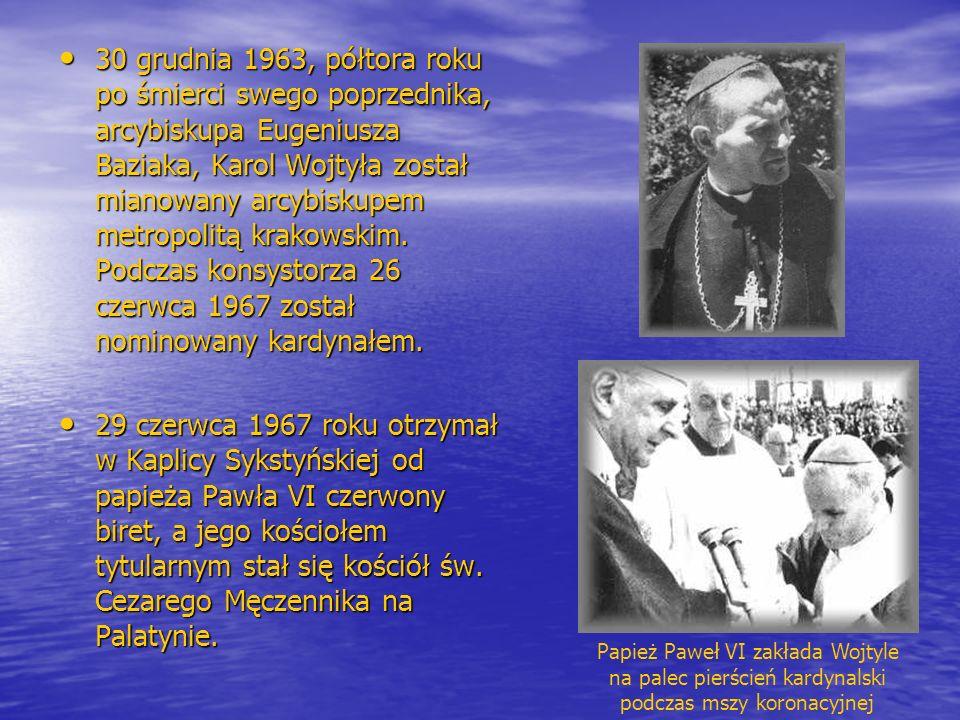 30 grudnia 1963, półtora roku po śmierci swego poprzednika, arcybiskupa Eugeniusza Baziaka, Karol Wojtyła został mianowany arcybiskupem metropolitą kr