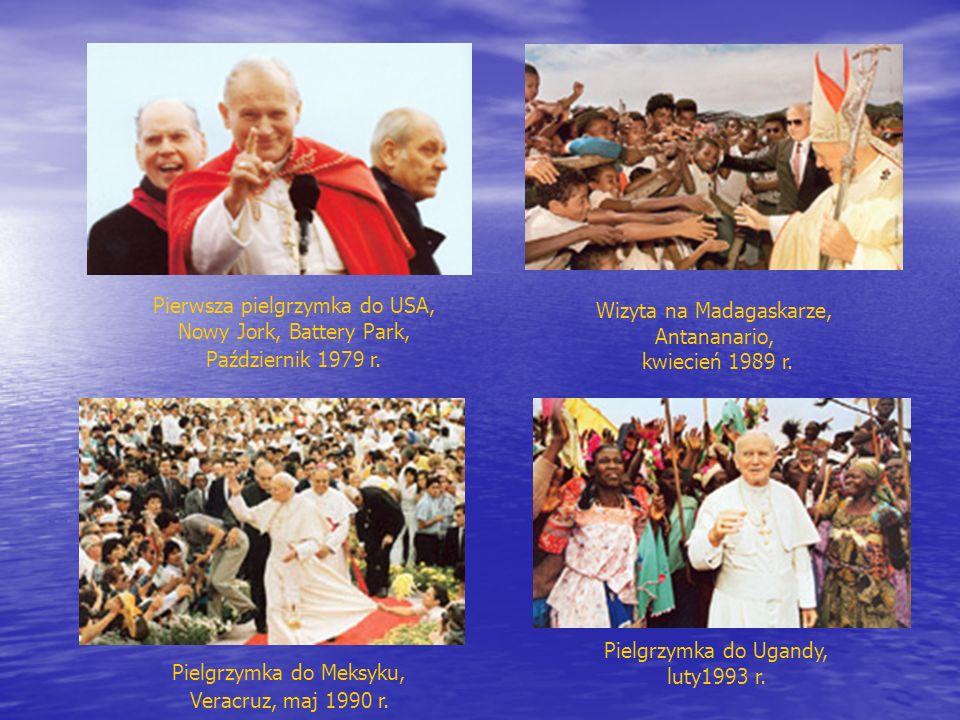 Pielgrzymka do Ugandy, luty1993 r. Wizyta na Madagaskarze, Antananario, kwiecień 1989 r. Pierwsza pielgrzymka do USA, Nowy Jork, Battery Park, Paździe