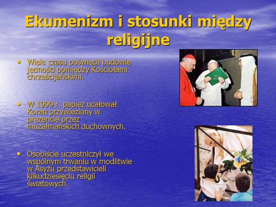 Ekumenizm i stosunki między religijne Wiele czasu poświęcił budowie jedności pomiędzy Kościołami chrześcijańskimi. Wiele czasu poświęcił budowie jedno