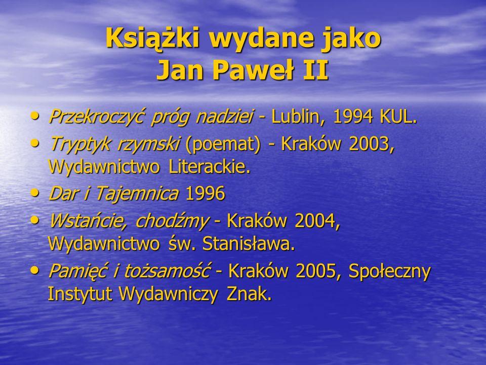 Książki wydane jako Jan Paweł II Przekroczyć próg nadziei - Lublin, 1994 KUL. Przekroczyć próg nadziei - Lublin, 1994 KUL. Tryptyk rzymski (poemat) -