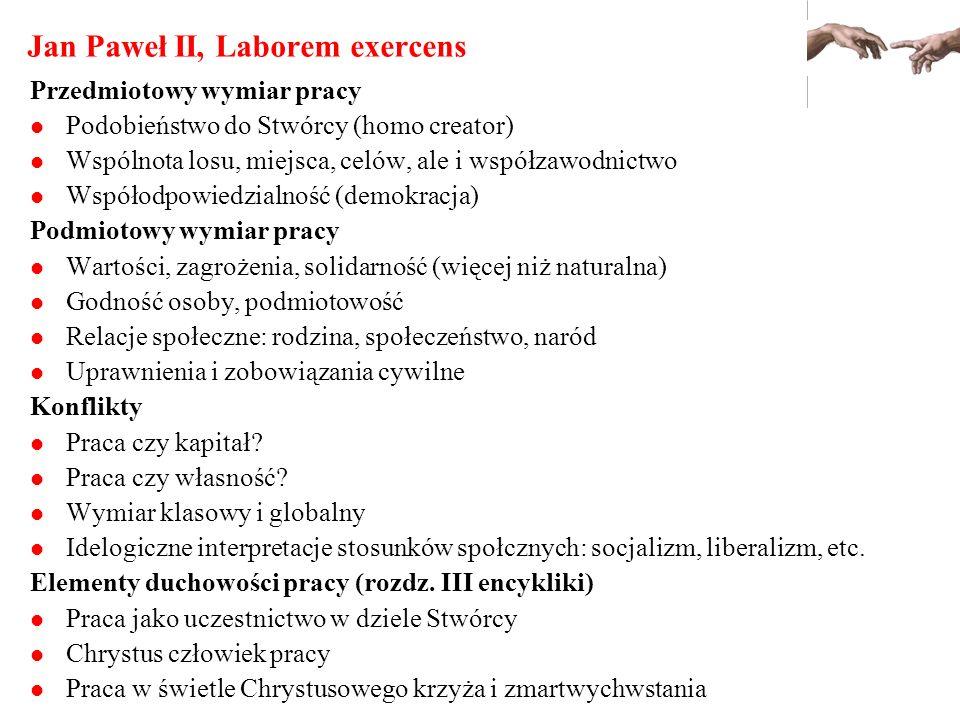 Jan Paweł II, Laborem exercens Przedmiotowy wymiar pracy Podobieństwo do Stwórcy (homo creator) Wspólnota losu, miejsca, celów, ale i współzawodnictwo