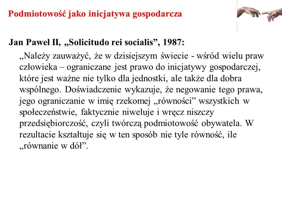 Podmiotowość jako inicjatywa gospodarcza Jan Paweł II, Solicitudo rei socialis, 1987: Należy zauważyć, że w dzisiejszym świecie - wśród wielu praw czł