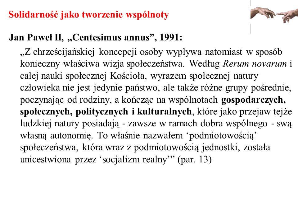 Solidarność jako tworzenie wspólnoty Jan Paweł II, Centesimus annus, 1991: Z chrześcijańskiej koncepcji osoby wypływa natomiast w sposób konieczny wła