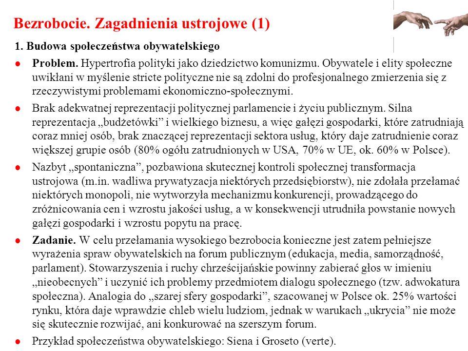 Bezrobocie. Zagadnienia ustrojowe (1) 1. Budowa społeczeństwa obywatelskiego Problem. Hypertrofia polityki jako dziedzictwo komunizmu. Obywatele i eli