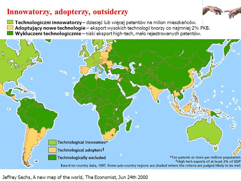 Jeffrey Sachs, A new map of the world, The Economist, Jun 24th 2000 Innowatorzy, adopterzy, outsiderzy Technologiczni innowatorzy – dziesięć lub więce