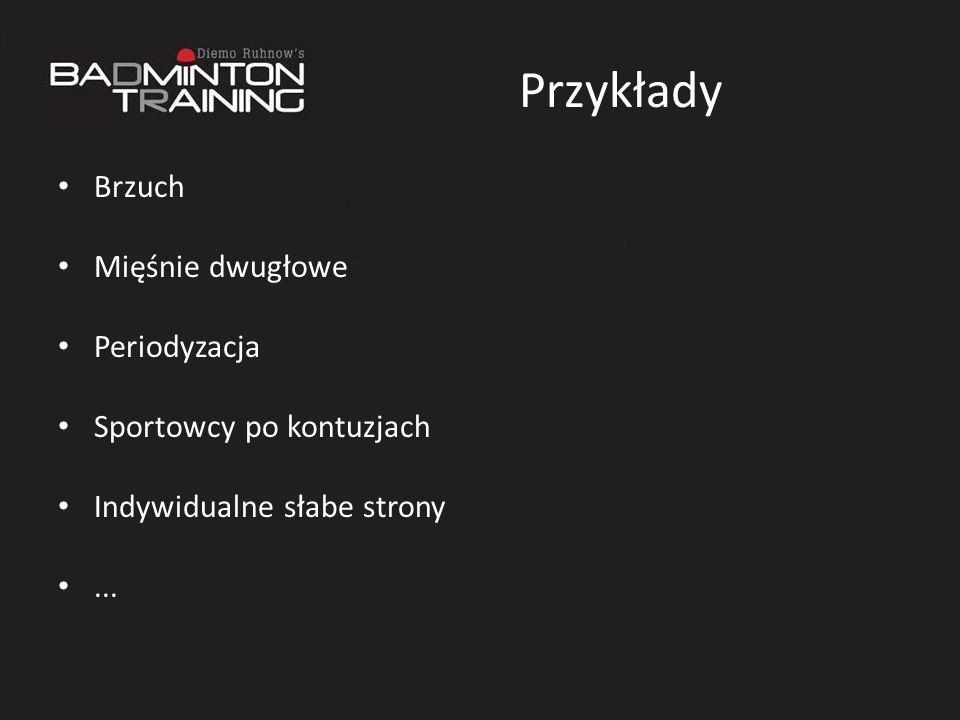Przykłady Brzuch Mięśnie dwugłowe Periodyzacja Sportowcy po kontuzjach Indywidualne słabe strony...