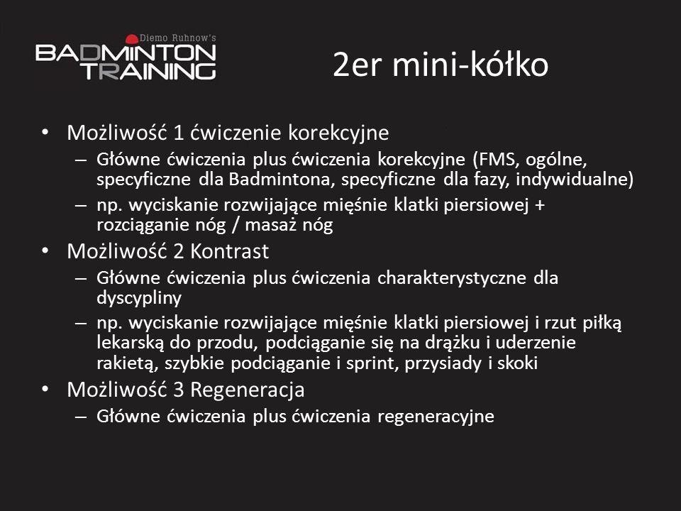 2er mini-kółko Możliwość 1 ćwiczenie korekcyjne – Główne ćwiczenia plus ćwiczenia korekcyjne (FMS, ogólne, specyficzne dla Badmintona, specyficzne dla