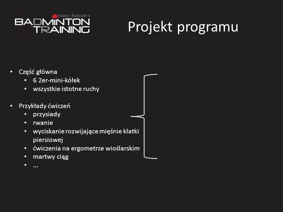 Projekt programu Część główna 6 2er-mini-kółek wszystkie istotne ruchy Przykłady ćwiczeń przysiady rwanie wyciskanie rozwijające mięśnie klatki piersi