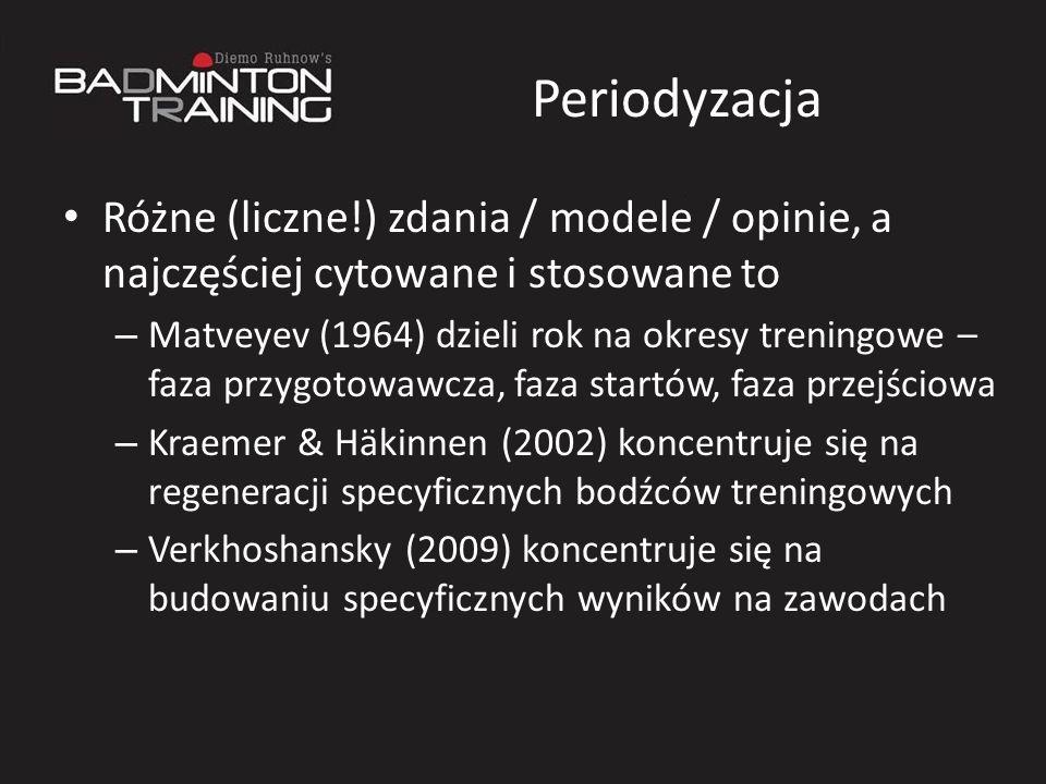 Periodyzacja Różne (liczne!) zdania / modele / opinie, a najczęściej cytowane i stosowane to – Matveyev (1964) dzieli rok na okresy treningowe – faza