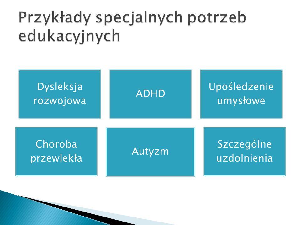Dysleksja rozwojowa ADHD Upośledzenie umysłowe Choroba przewlekła Autyzm Szczególne uzdolnienia