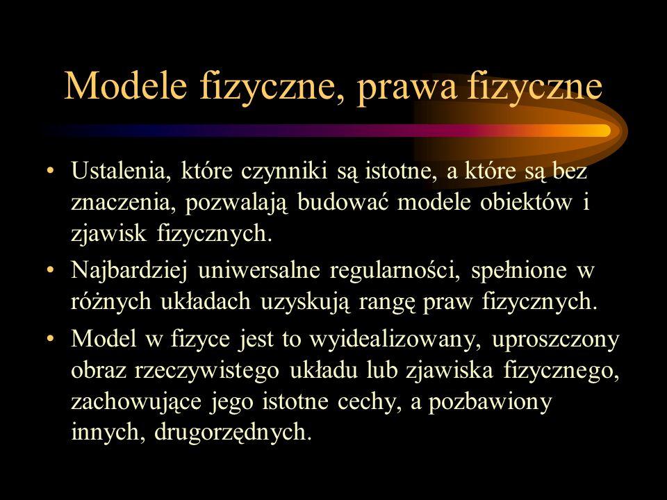 Modele fizyczne, prawa fizyczne Ustalenia, które czynniki są istotne, a które są bez znaczenia, pozwalają budować modele obiektów i zjawisk fizycznych.