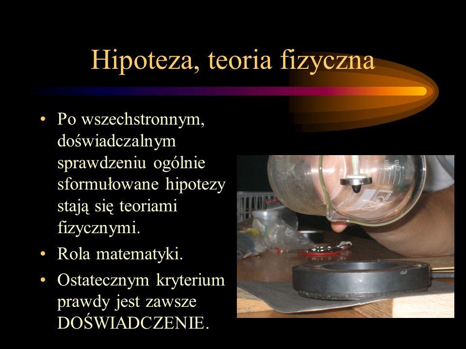 Hipoteza, teoria fizyczna Po wszechstronnym, doświadczalnym sprawdzeniu ogólnie sformułowane hipotezy stają się teoriami fizycznymi. Rola matematyki.