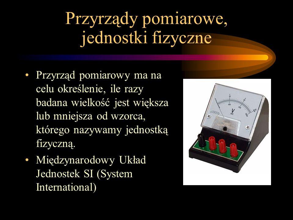 Przyrządy pomiarowe, jednostki fizyczne Przyrząd pomiarowy ma na celu określenie, ile razy badana wielkość jest większa lub mniejsza od wzorca, którego nazywamy jednostką fizyczną.
