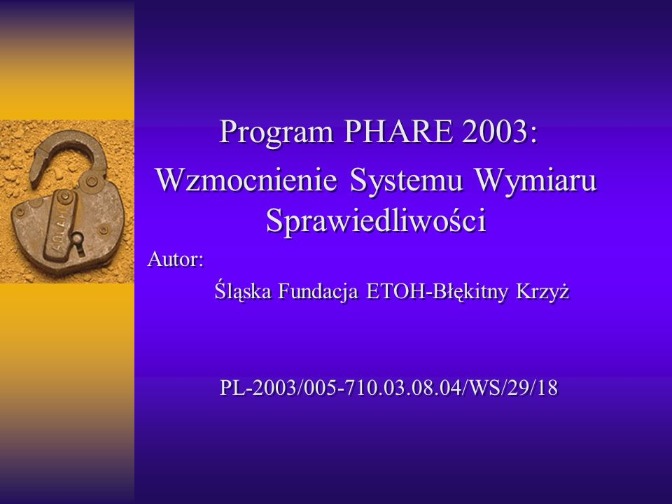 Program PHARE 2003: Wzmocnienie Systemu Wymiaru Sprawiedliwości Autor: Śląska Fundacja ETOH-Błękitny Krzyż PL-2003/005-710.03.08.04/WS/29/18 Program P