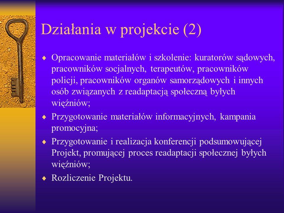 Działania w projekcie (2) Opracowanie materiałów i szkolenie: kuratorów sądowych, pracowników socjalnych, terapeutów, pracowników policji, pracowników
