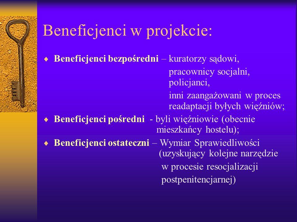 Beneficjenci w projekcie: Beneficjenci bezpośredni – kuratorzy sądowi, pracownicy socjalni, policjanci, inni zaangażowani w proces readaptacji byłych