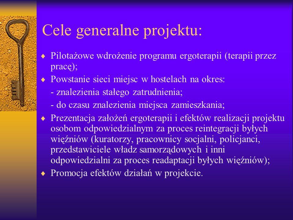 Cele generalne projektu: Pilotażowe wdrożenie programu ergoterapii (terapii przez pracę); Powstanie sieci miejsc w hostelach na okres: - znalezienia s