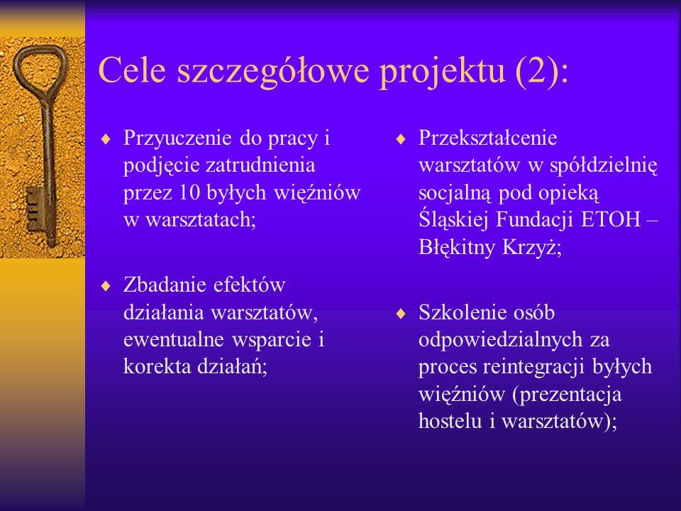 Cele szczegółowe projektu (2): Przyuczenie do pracy i podjęcie zatrudnienia przez 10 byłych więźniów w warsztatach; Zbadanie efektów działania warszta