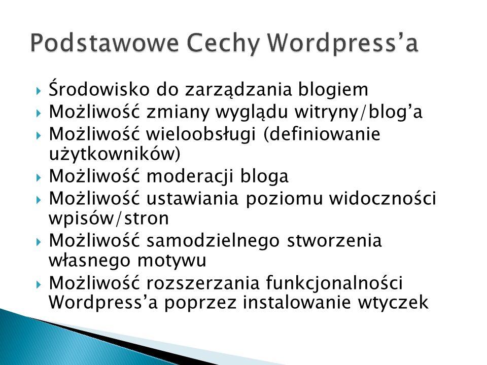 Środowisko do zarządzania blogiem Możliwość zmiany wyglądu witryny/bloga Możliwość wieloobsługi (definiowanie użytkowników) Możliwość moderacji bloga Możliwość ustawiania poziomu widoczności wpisów/stron Możliwość samodzielnego stworzenia własnego motywu Możliwość rozszerzania funkcjonalności Wordpressa poprzez instalowanie wtyczek