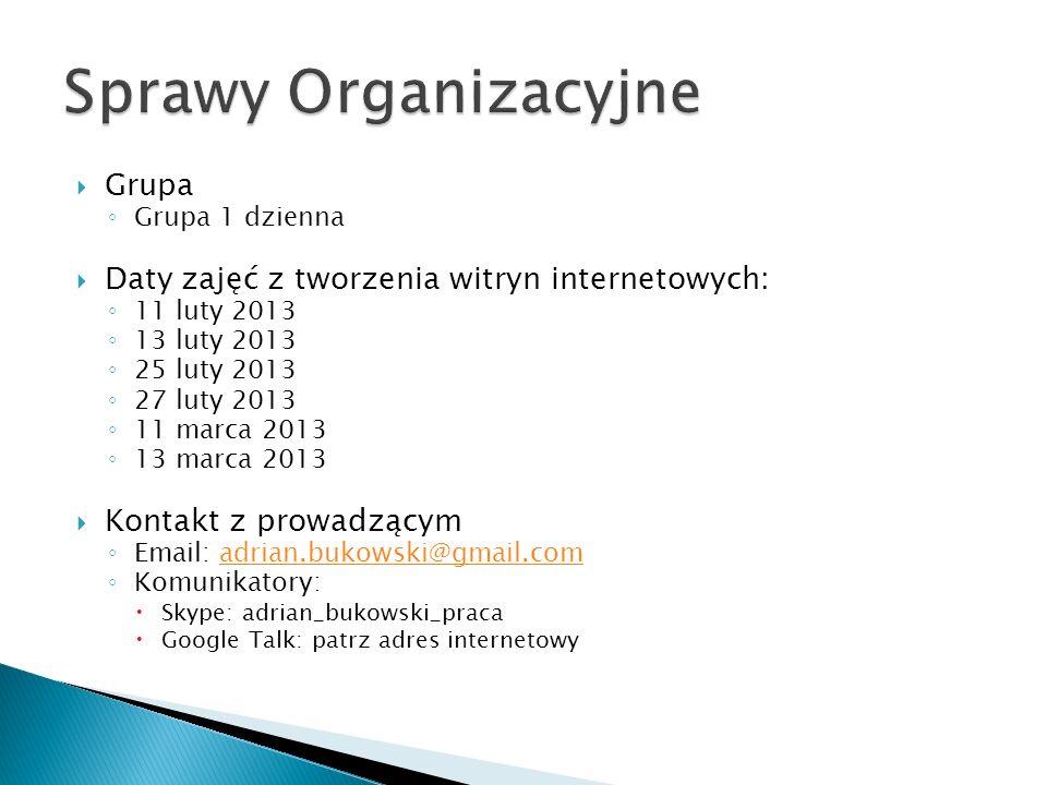 Witryna: http://adrianbukowski.pl/dcrl/ict/gr / Panel administracyjny: http://adrianbukowski.pl/dcrl/ict/gr / /wp-admin http://adrianbukowski.pl/dcrl/ict/gr4/adrianbukowski/
