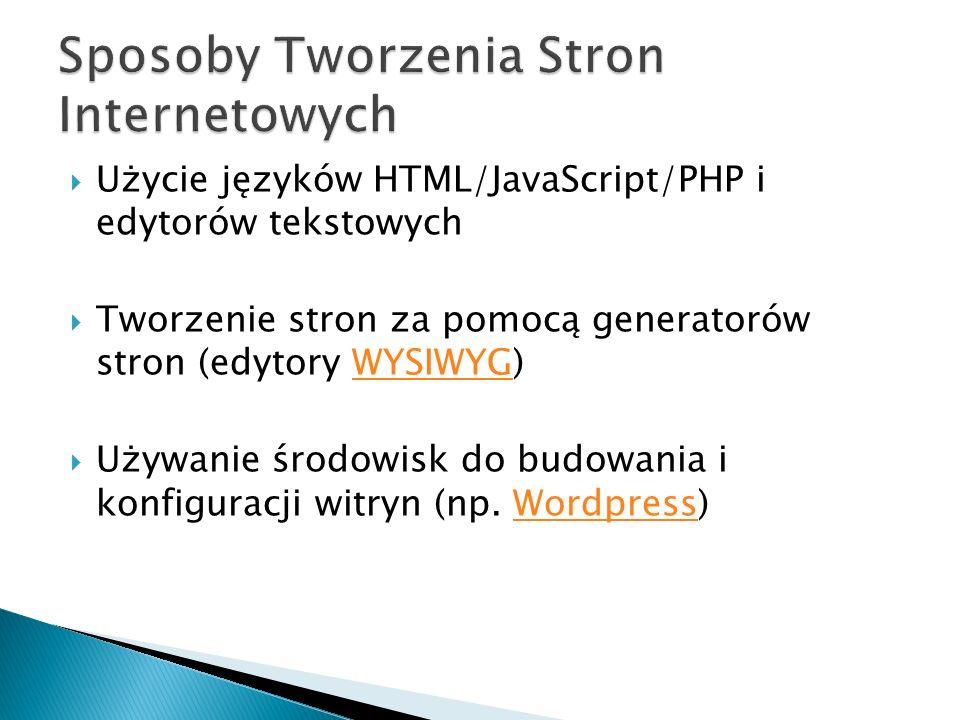 Użycie języków HTML/JavaScript/PHP i edytorów tekstowych Tworzenie stron za pomocą generatorów stron (edytory WYSIWYG)WYSIWYG Używanie środowisk do budowania i konfiguracji witryn (np.