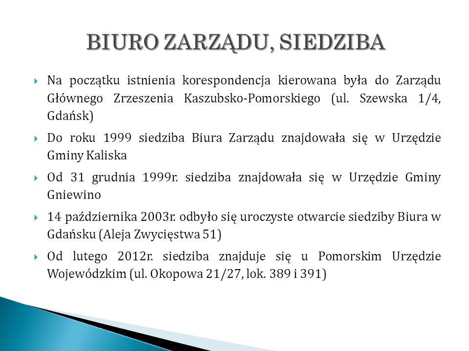 Na początku istnienia korespondencja kierowana była do Zarządu Głównego Zrzeszenia Kaszubsko-Pomorskiego (ul. Szewska 1/4, Gdańsk) Do roku 1999 siedzi