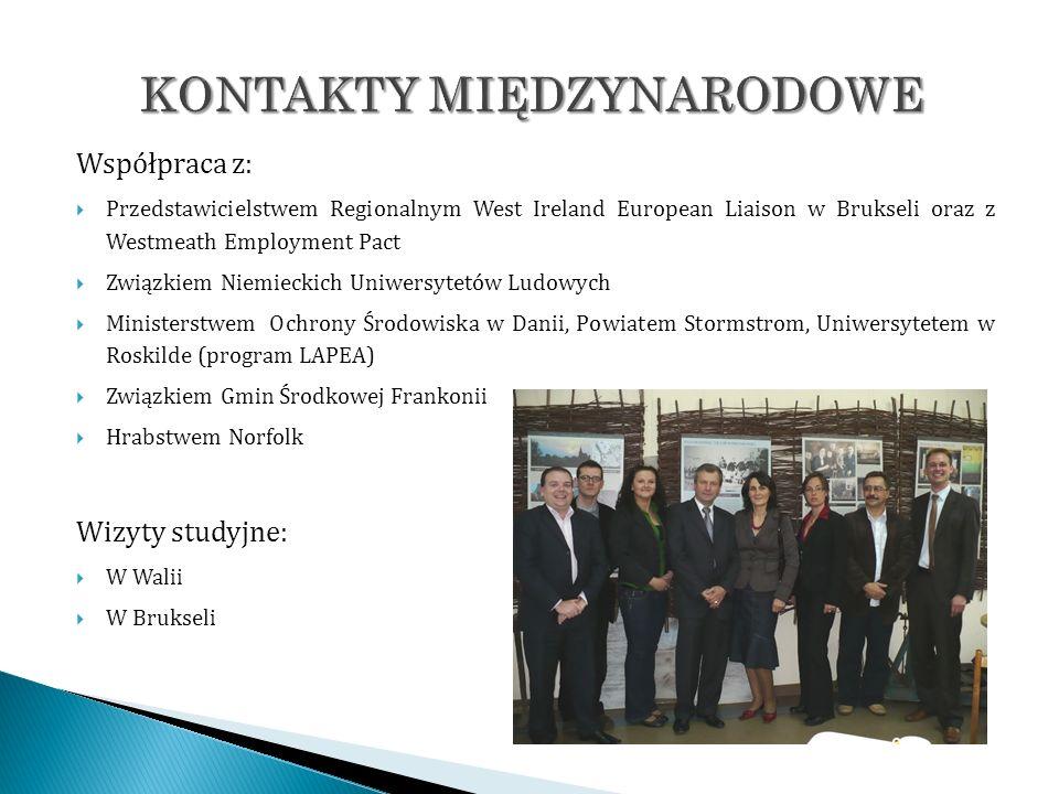Współpraca z: Przedstawicielstwem Regionalnym West Ireland European Liaison w Brukseli oraz z Westmeath Employment Pact Związkiem Niemieckich Uniwersy