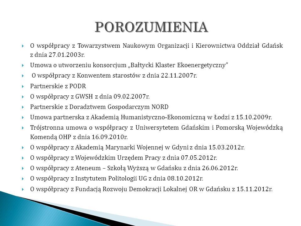 O współpracy z Towarzystwem Naukowym Organizacji i Kierownictwa Oddział Gdańsk z dnia 27.01.2003r. Umowa o utworzeniu konsorcjum Bałtycki Klaster Ekoe