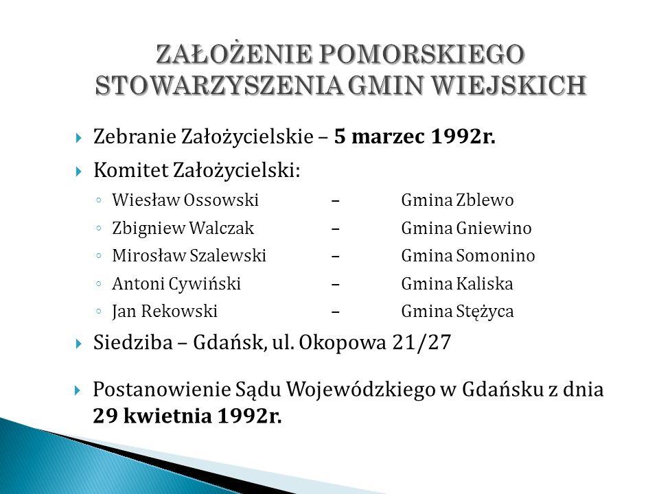 Zebranie Założycielskie – 5 marzec 1992r. Komitet Założycielski: Wiesław Ossowski – Gmina Zblewo Zbigniew Walczak – Gmina Gniewino Mirosław Szalewski
