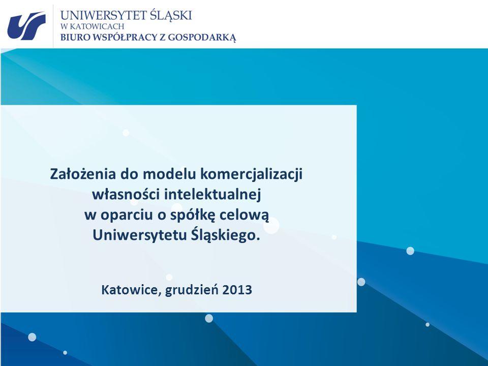 Założenia do modelu komercjalizacji własności intelektualnej w oparciu o spółkę celową Uniwersytetu Śląskiego.