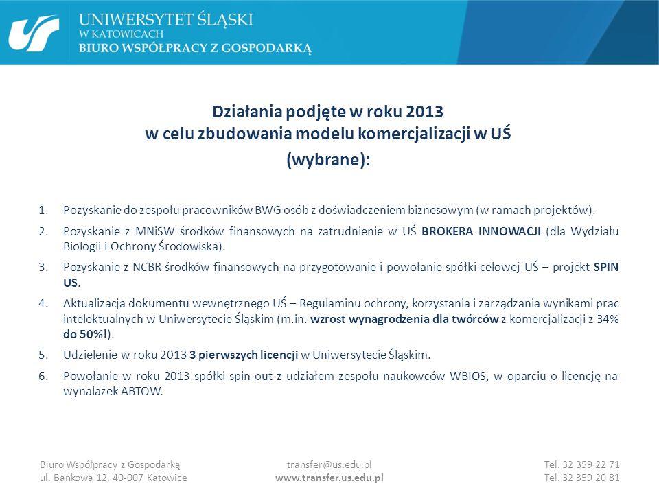 Kontakt: Uniwersytet Śląski w Katowicach Biuro Współpracy z Gospodarką ul.