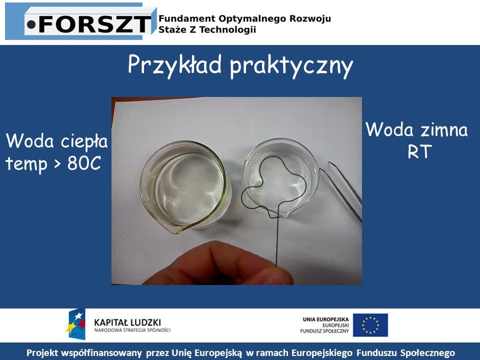 Projekt współfinansowany przez Unię Europejską w ramach Europejskiego Funduszu Społecznego Przykład praktyczny Woda ciepła temp > 80C Woda zimna RT