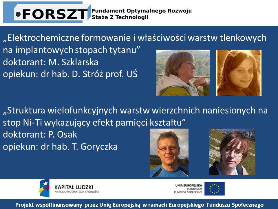 Projekt współfinansowany przez Unię Europejską w ramach Europejskiego Funduszu Społecznego Elektrochemiczne formowanie i właściwości warstw tlenkowych