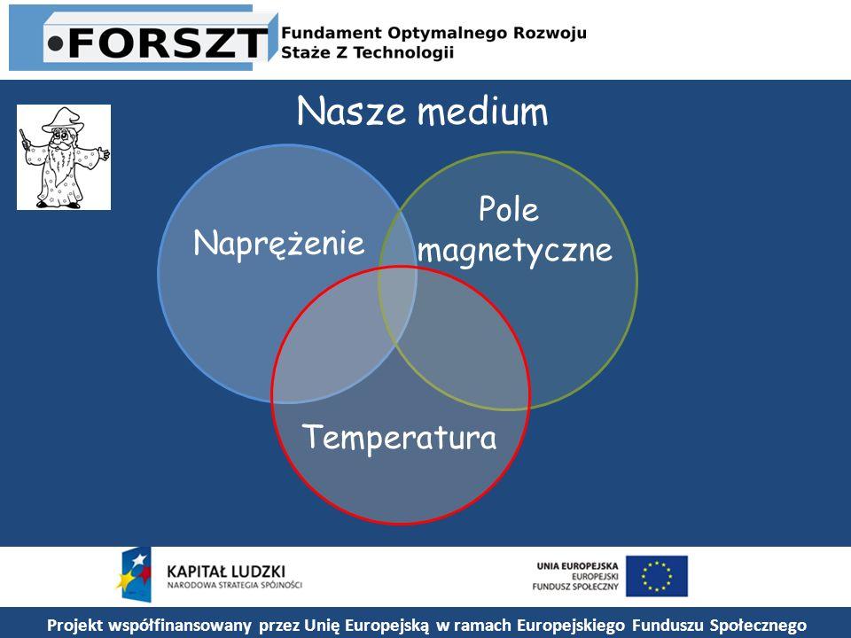 Projekt współfinansowany przez Unię Europejską w ramach Europejskiego Funduszu Społecznego Nasze medium Naprężenie Pole magnetyczne Temperatura