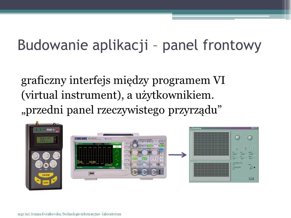 Budowanie aplikacji – panel frontowy graficzny interfejs między programem VI (virtual instrument), a użytkownikiem. przedni panel rzeczywistego przyrz