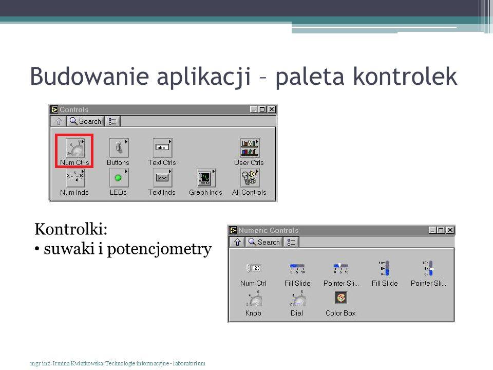 Budowanie aplikacji – paleta kontrolek mgr inż. Irmina Kwiatkowska, Technologie informacyjne - laboratorium Kontrolki: suwaki i potencjometry
