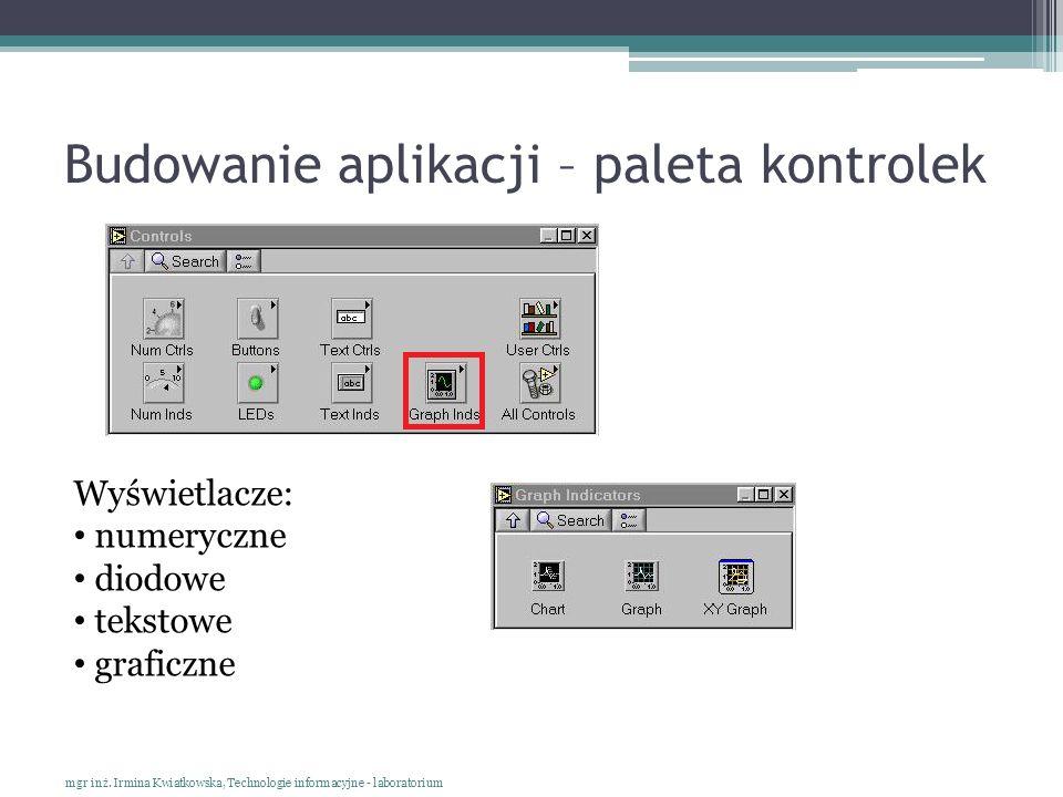 Budowanie aplikacji – paleta kontrolek mgr inż. Irmina Kwiatkowska, Technologie informacyjne - laboratorium Wyświetlacze: numeryczne diodowe tekstowe