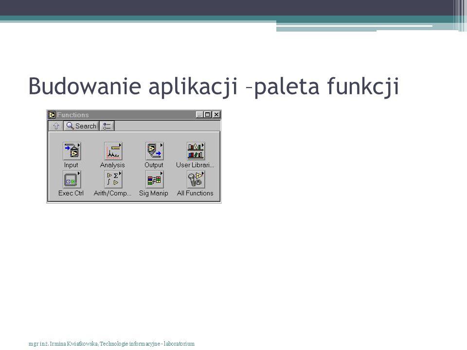 Budowanie aplikacji –paleta funkcji mgr inż. Irmina Kwiatkowska, Technologie informacyjne - laboratorium