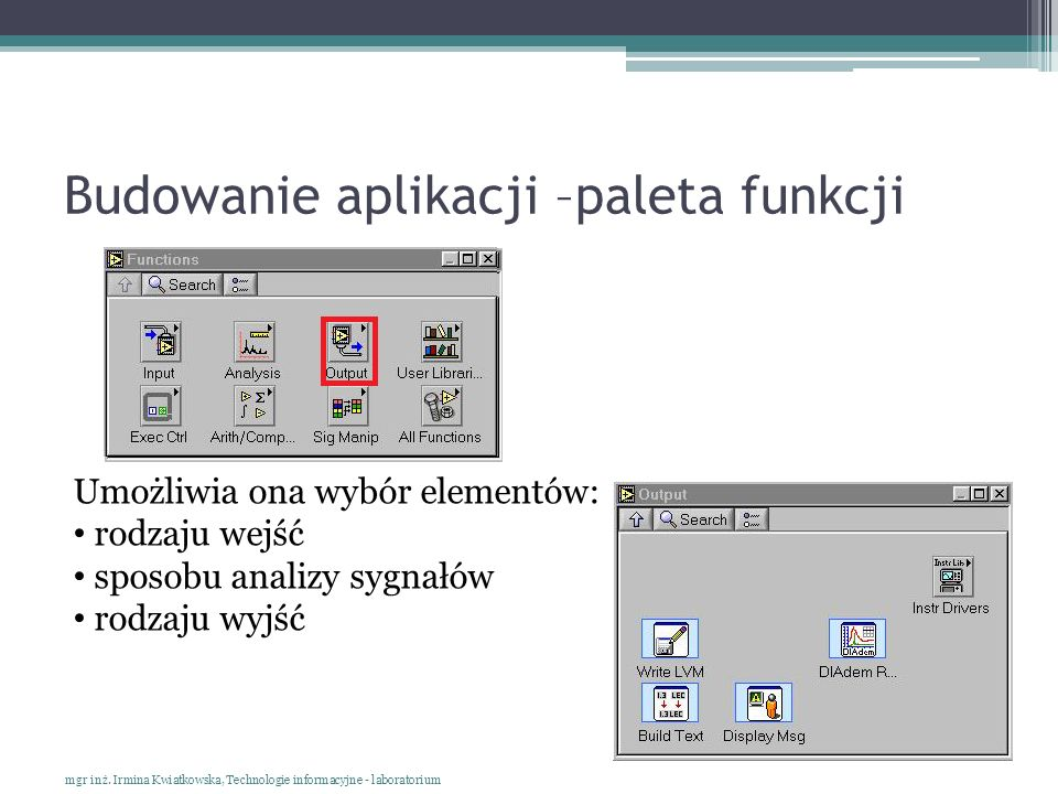 Budowanie aplikacji –paleta funkcji mgr inż. Irmina Kwiatkowska, Technologie informacyjne - laboratorium Umożliwia ona wybór elementów: rodzaju wejść