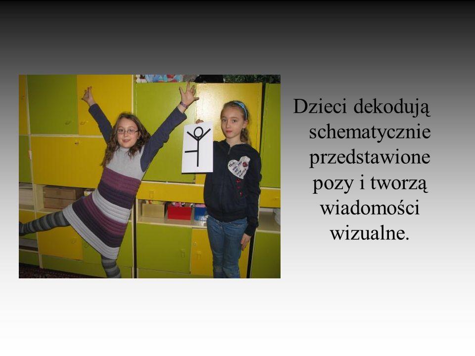 Dzieci dekodują schematycznie przedstawione pozy i tworzą wiadomości wizualne.