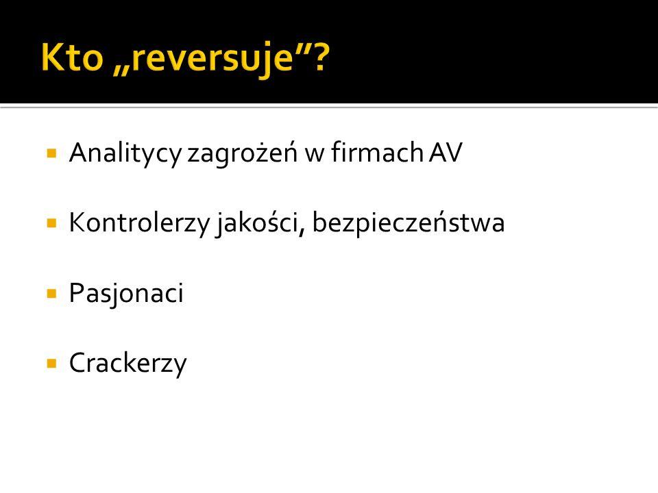 Analitycy zagrożeń w firmach AV Kontrolerzy jakości, bezpieczeństwa Pasjonaci Crackerzy