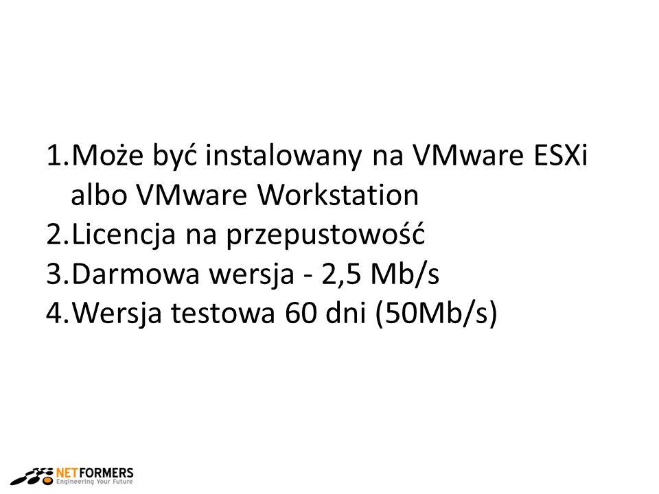 1.Może być instalowany na VMware ESXi albo VMware Workstation 2.Licencja na przepustowość 3.Darmowa wersja - 2,5 Mb/s 4.Wersja testowa 60 dni (50Mb/s)