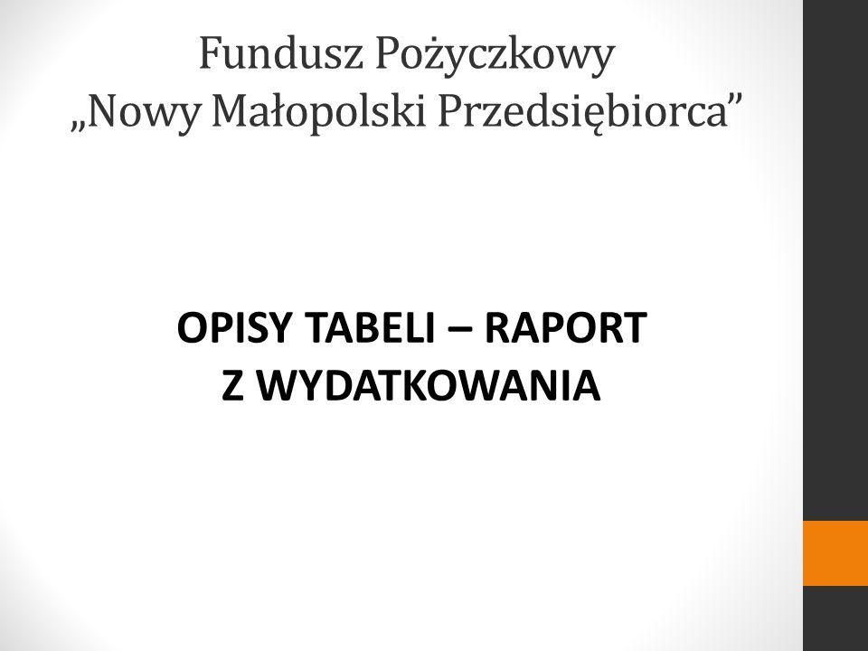 Fundusz Pożyczkowy Nowy Małopolski Przedsiębiorca OPISY TABELI – RAPORT Z WYDATKOWANIA