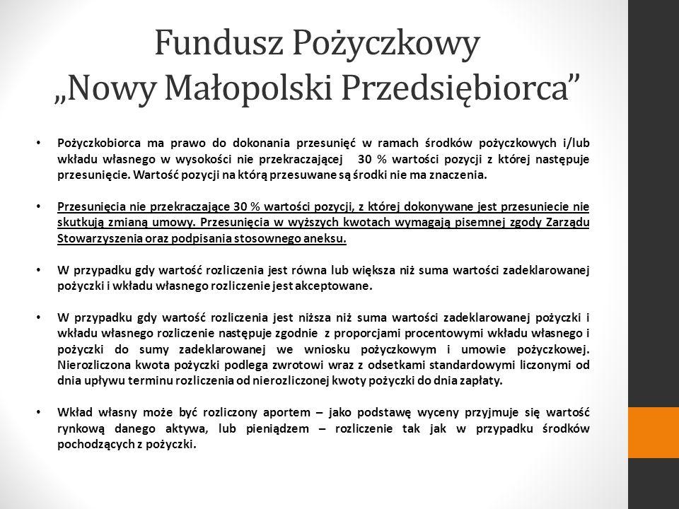 Fundusz Pożyczkowy Nowy Małopolski Przedsiębiorca Pożyczkobiorca ma prawo do dokonania przesunięć w ramach środków pożyczkowych i/lub wkładu własnego w wysokości nie przekraczającej 30 % wartości pozycji z której następuje przesunięcie.