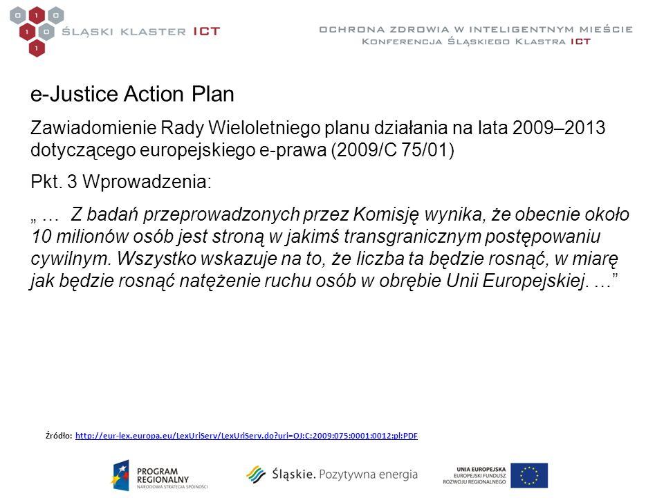 e-Justice Action Plan Zawiadomienie Rady Wieloletniego planu działania na lata 2009–2013 dotyczącego europejskiego e-prawa (2009/C 75/01) Pkt.
