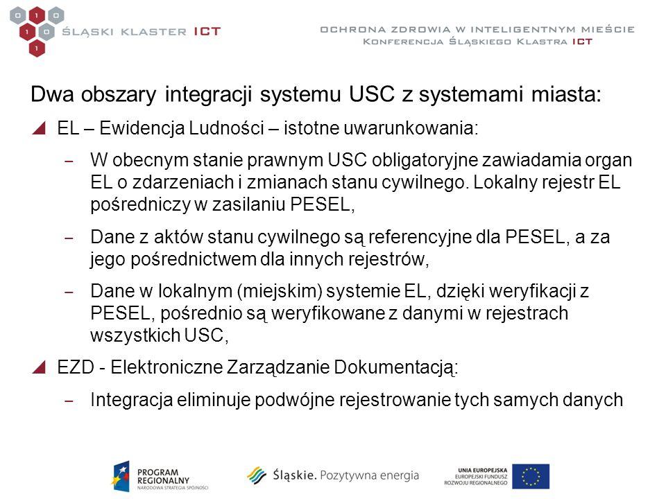 Dwa obszary integracji systemu USC z systemami miasta: EL – Ewidencja Ludności – istotne uwarunkowania: W obecnym stanie prawnym USC obligatoryjne zawiadamia organ EL o zdarzeniach i zmianach stanu cywilnego.