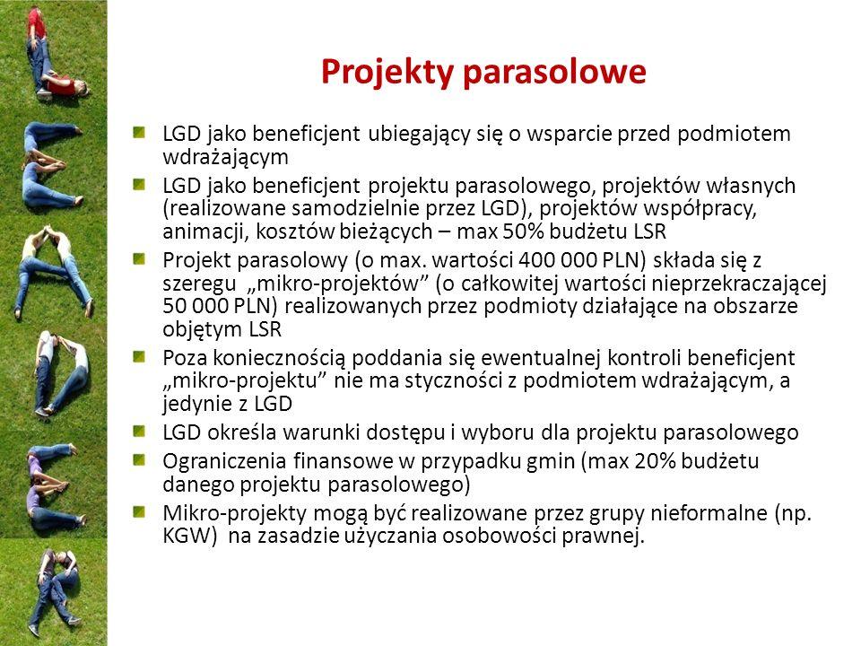 Projekty parasolowe LGD jako beneficjent ubiegający się o wsparcie przed podmiotem wdrażającym LGD jako beneficjent projektu parasolowego, projektów w