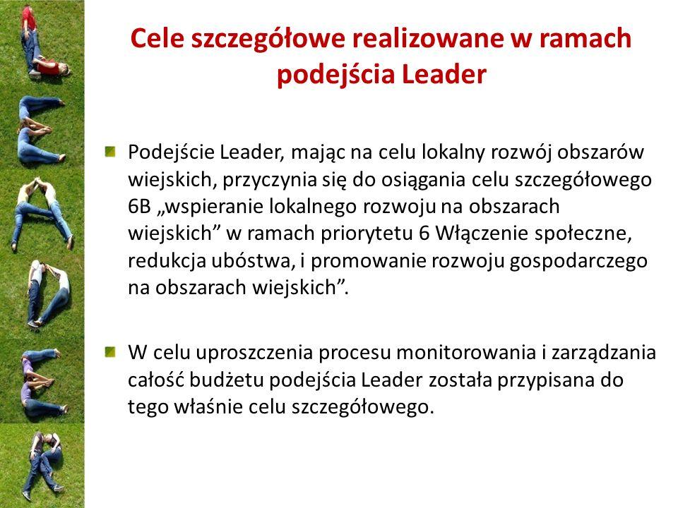 Cele szczegółowe realizowane w ramach podejścia Leader Podejście Leader, mając na celu lokalny rozwój obszarów wiejskich, przyczynia się do osiągania